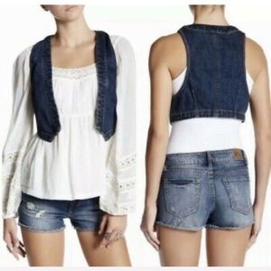 Free People Med Wash Boho Micro Woven Denim Vest